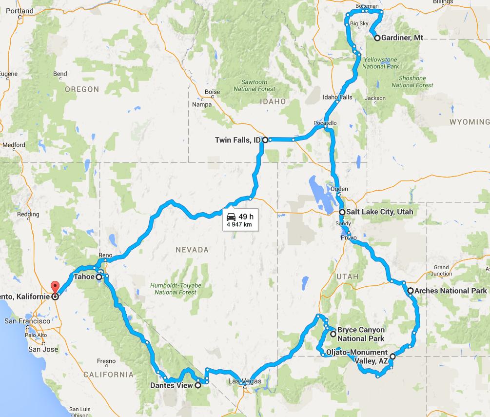 Cesta po USA - trasa