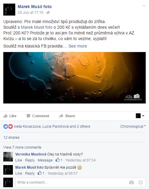 Výsledek Facebook soutěže