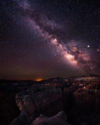 Mléčná dráha fotografie galaxie v Bryce Canyonu.